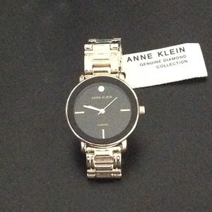 Anne Klein Black & Gold Genuine Diamond NWT Watch